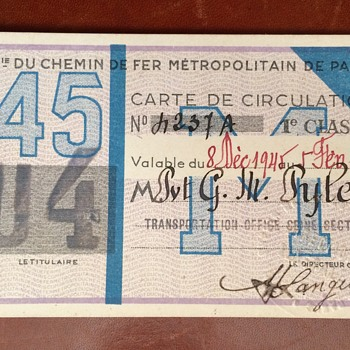 Metropolitan De Paris War Time Rail Pass