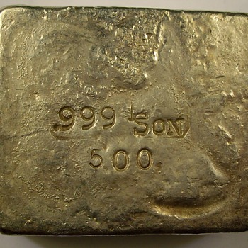 L-Son Smelters & refiners 500 Gram bar of .999 fine Silver