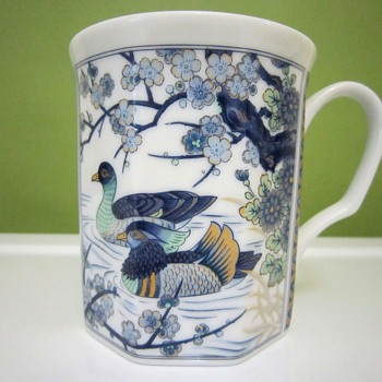 IMARI BONE CHINA Blue/Glod/Mustard/Sky/White/Aqua Mist CUP/MUG - Ducks & Flowering Trees on River Bank SCENE - Asian