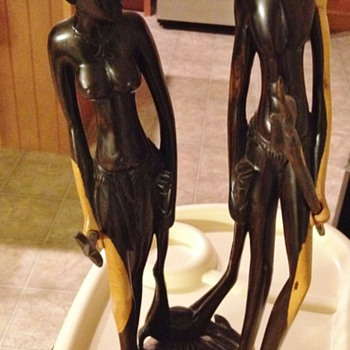 Rare  Art Wood  Hunters African Statues - Art Deco