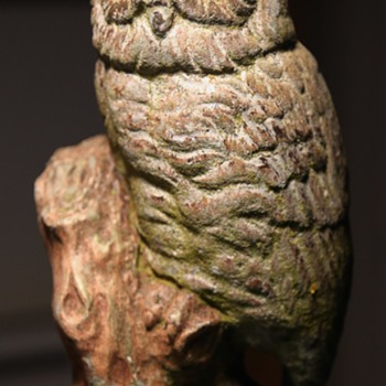 Very Old Cast Stone Owl - Animals