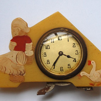 Antique novelty standing travel alarm clock ca. 1930's.
