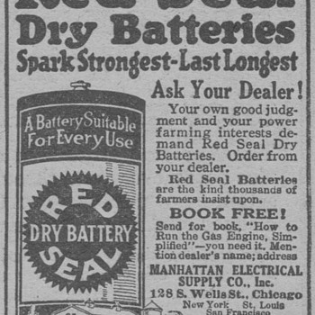 1919 - Red Seal Dry Cell Batteries Advertisement - Advertising