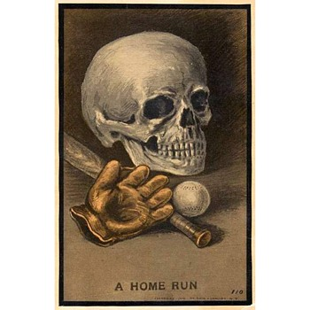 "1910 Oddly Satiric Baseball Theme Postcard Entitled ""A Home Run"""