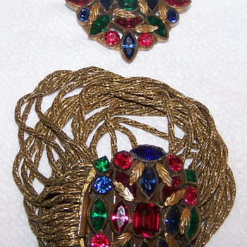 My Favorite Jewel Colored Bracelet & Matching Brooch