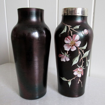 A Pair of c1900 Poschinger Vases - Art Glass