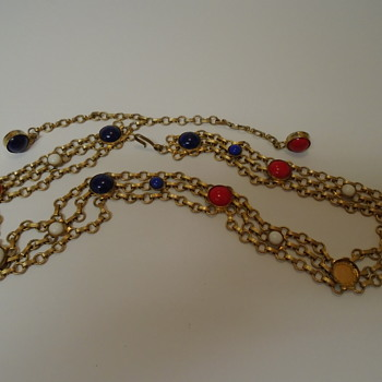 Box Chain Necklace Red White & Blue Stones