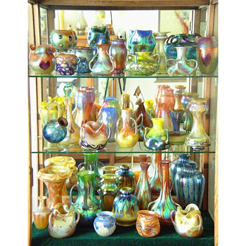 Loetz vases in groups.