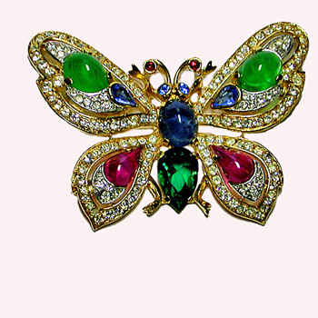 Trifari Jewels of India Butterfly - From My Personal Collection - Costume Jewelry