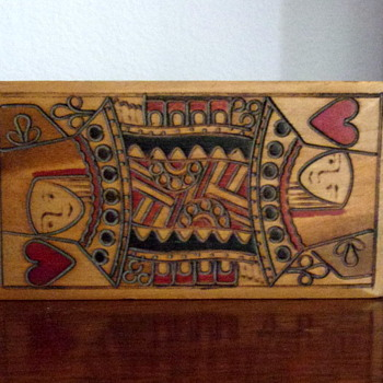 Hand Carved Wooden Playing Card Box W. Germany - Cards