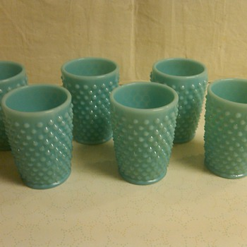 Set of 6 Small Fenton Turquoise Hobnail Juice Tumblers: HTF - Glassware