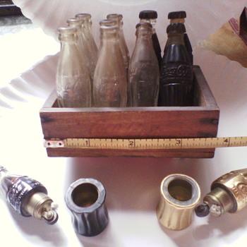 Unique Wooden Crate Coca Cola and bottles/lighters - Coca-Cola