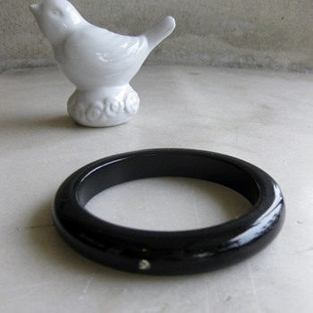 Black bakelite or lucite bangle w/rhinestones - Costume Jewelry