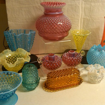 more fenton hobnail items: rare lamp shade vase. 