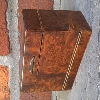 Antique Burl Wood Box With Chanel Perfume Bottles