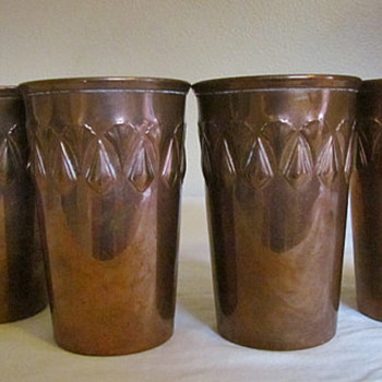 WMF (Würtemburgische Machin Fabrik ) Antique Copper Tumblers - Art Deco