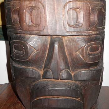 Pacific Northwest Native Hand Carved Wood Mask