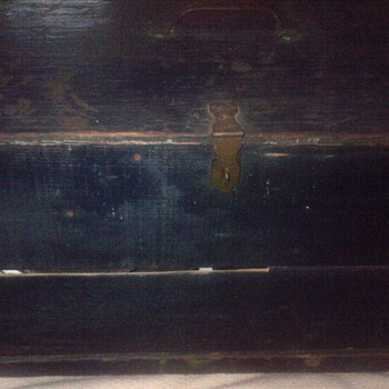 Old blue painted box  - Furniture