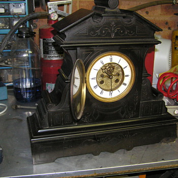 French slate mantle clock C 1850 - Clocks