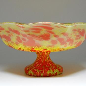 Art Deco, Kralik Pedestal Bowl, Circa 1920-30 - Art Glass
