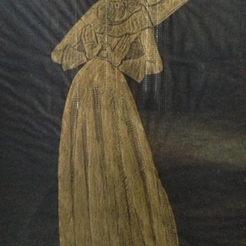 Large gold painting on black paper