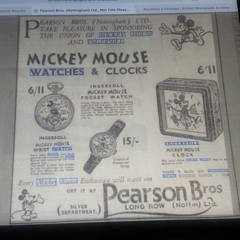 English Ingersoll Mickey Mouse advertisements