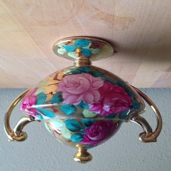 Nippon hand-painted rose dish with lid  - China and Dinnerware