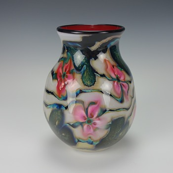 CHARLES LOTTON WHITE MULTI FLORA VASE - Art Glass