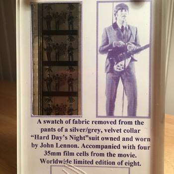 "John Lennon-""Hard Day's Night"" suit swatch-1964"