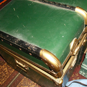 Old Trunk -- Green and Brass ?? - Furniture