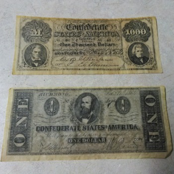 COPY OF CONFEDERATE MONEY