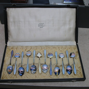 enamel on sterling spoons. Norway