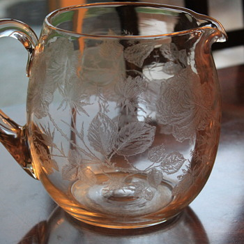 LOVELY ROSE ETCHED GLASS PITCHER - Glassware