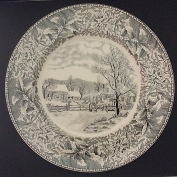 Adams Winter Scenes Plate - New England Winter Scene