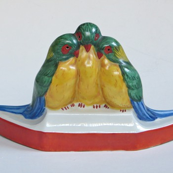 3 Parakeet Lamp,  Signed, 20's~30's vintage?~Great Shape & Color, Recognize the Signature?