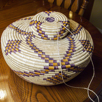 Early Polychrome Coiled Bottleneck Basket - Native American