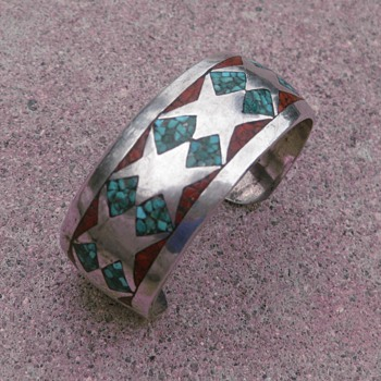 Navajo turquoise & coral inlay cuff