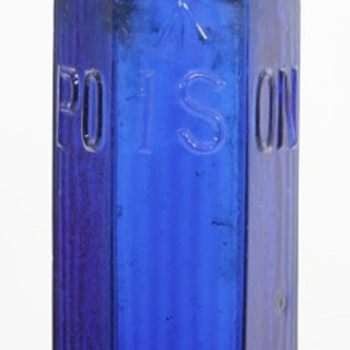 Large Cobalt Blue Admiralty Hexagonal Poison Bottle