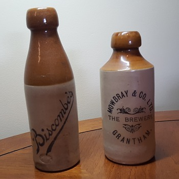 Two Stoneware Beer Bottles - Breweriana