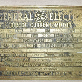 1944 Brass WWII US Navy GE Direct Current Motor Data Plaque Plate Sign - Schenectady, NY  - Military and Wartime