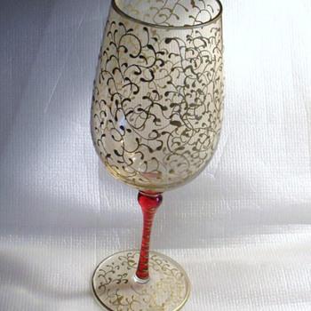 BOHEMIAN PERSIAN DESIGN GOLD GILT FOOTED GOLBLET - Glassware