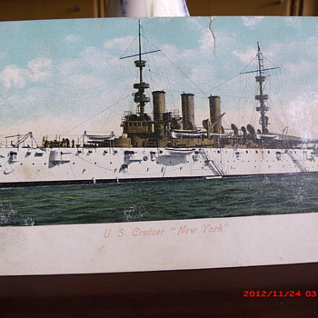 "Postcard of U.S. Cruiser ""New York""  - Military and Wartime"