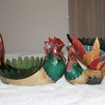 wooden pair of roosters with glass bowls
