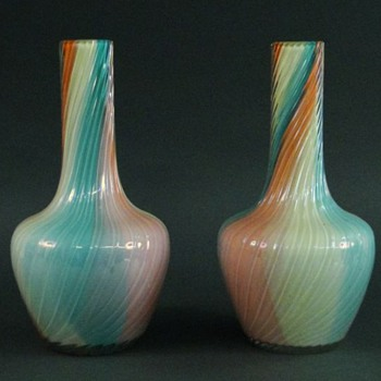 "Loetz Pair of Rainbow Twist Vases @ 11.25"" Tall"