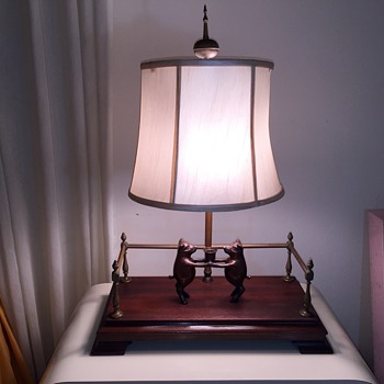 Old Chapman Lamp Spain Brass Railing with Solid Bronze Candleholder - Lamps
