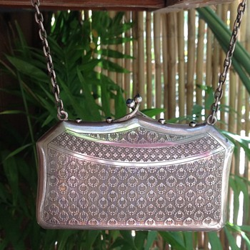 Antique Silver engraved handbag compact - Sterling Silver