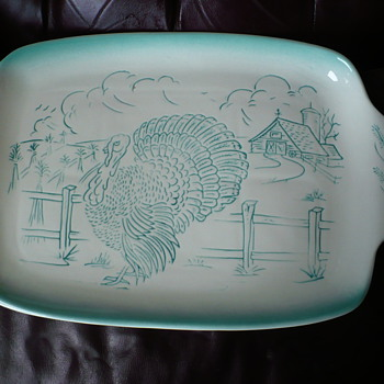 Bell Calif USA Regtangular Large Turkey Tray  Teal
