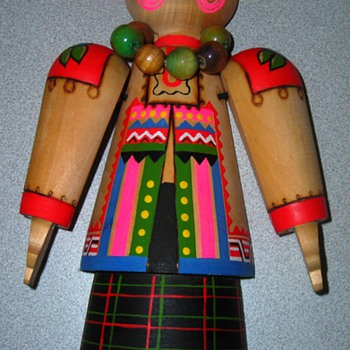 Wooden Russian (presumably) doll or figurine  - Dolls