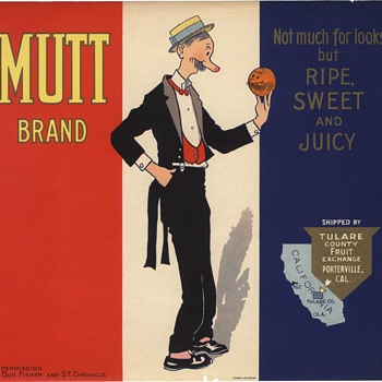 Mutt &amp; Jeff Orange Crate Label Porterville, Tulare County - Advertising