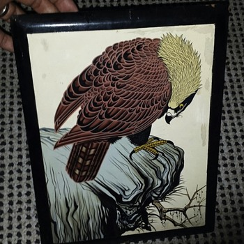 Very Old Signed Chinese Painting Of Hawk Or Eagle? on Lacquer Frame